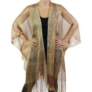 Jackets & Blazers - Gold Metallic Fishnet Ruana Cape